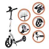 SAMAX Tretroller Scooter Cityroller Kickscooter Big Wheel Klappbar mit Ständer bis 100 kg in Weiß