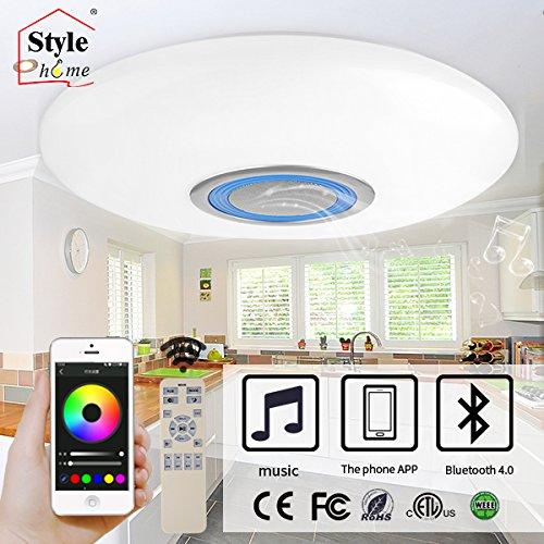 Style home LED RGB Deckenlampe mit Bluetooth Lautsprecher dimmbar mit Fernbedienung (BT01-80-Blau)