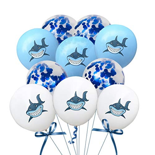 BESTOYARD 10 stücke Latex Ballons Nette Runde Glitter Konfetti Ballons Tier Shark Ballons Helium Ballons für Baby Shower Kinder Geburtstag Party Supplies Decor 12 Zoll