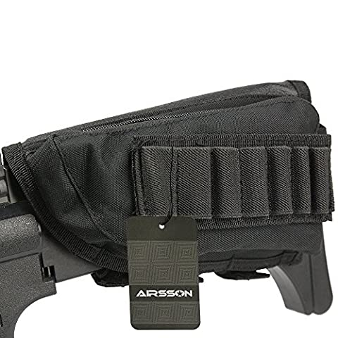 Airsson Tactical ButtStock Shotgun Rifle Shell Holder Cheek Rest Pouch Ammo Cartridge Magazine Carrier Storage (Carrier Munizioni)