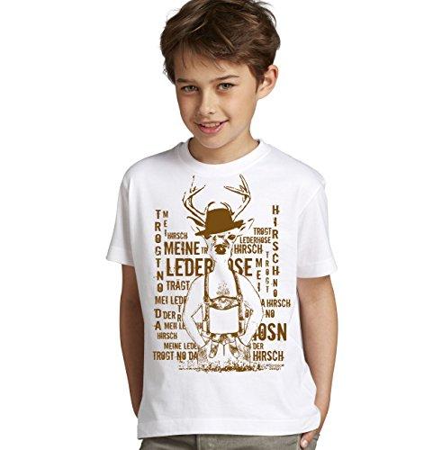 Kinder Jungen Kurzarm Trachten T-Shirt Outfit zum Volksfest Oktoberfest Wiesn :-: Geburtstagsgeschenk Kids :-: Meine Lederhose :-: Geschenkidee Teenager :-: Farbe: Weiss Gr: 152/164