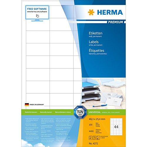 Preisvergleich Produktbild Herma 4272 Universal-Etiketten selbstklebend (48,3 x 25,4 mm auf DIN A4 Premium Papier, matt) 4.400 Stück auf 100 Blatt, weiß, bedruckbar