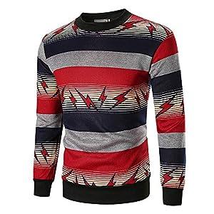 JUSTSELL Langarmshirts Pullover Herren Herbst Winter,Männer Gestreift Sweatshirt Blitzmuster-Druck Sweater Rundhalsausschnitt T Shirt Casual Pullover Tops
