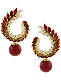 The Jewelbox Crescent Marquise Ruby Red American Diamond Cz Gold Plated Chaand Bali Jhumki Earring For Women