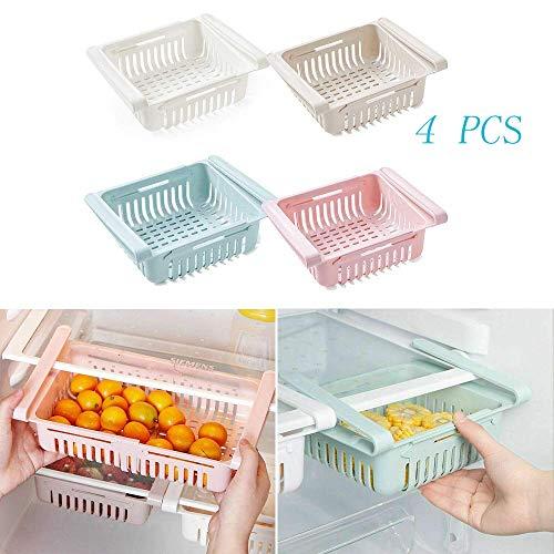 hillp 4 STÜCKE Kühlschrank Partition Layer Organizer Einstellbare Schublade Organizer Obst Gemüse Halter (Rosa/blau/weiß/braun)