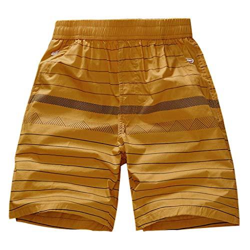 Xmiral Shorts Hose Herren Elastische Taille Schnelltrockn Strandhosen Badehose Surfhosen Einfarbig Streifen Plaid Gedruckte Große Größe(A Braun,XXL)