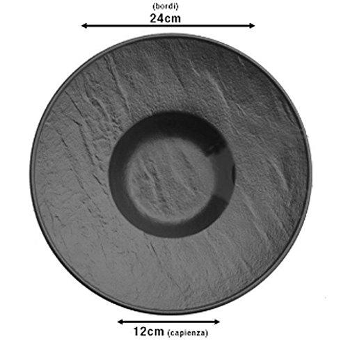 Assiette creuse Gourmet cm.24 en porcelaine noire Saturnia Vulcania