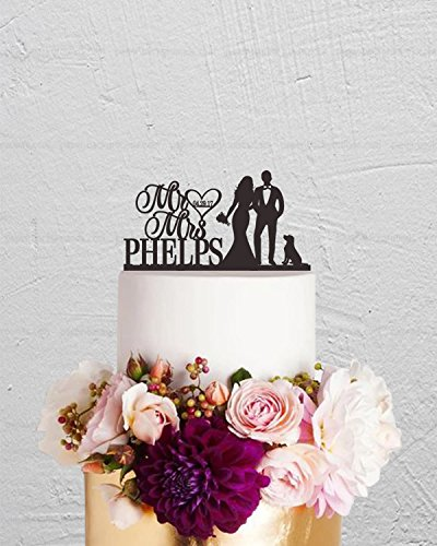 au Hochzeit Tortenaufsatz Braut und Bräutigam Paar mit Hund Custom Hochzeit Kuchen Topper Buchstaben Funny Hochzeitstag Tortenaufsatz Party Event Dekorationen Hochzeit Geschenk ()