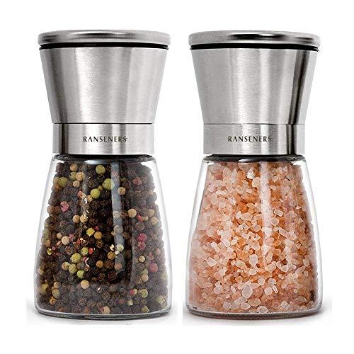 RANSENERS Salz und Pfeffermühle 2er Set mit, Elegante Gewürzmühle | Salzmühle , Geeignet für stilvolle Restaurants und Küchen, ist ein guter assistent für Köche und Feinschmecker