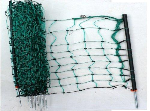*grüner mobiler Elektrozaun Weidezaun 108cm hoch bis 50m lang Zaun-Netz inkl. 14 Pfähle Hundezaun Gartenzaun Schafnetz Schafzaun flexibel Universal Hunde Garten Auslauf Gehege*