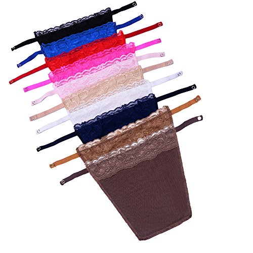 Metyou 10Pcs Dame Spitze Clip-on Mock Camisole BH Einsatz Overlay Modesty Panel Weste - 3 Stück Office