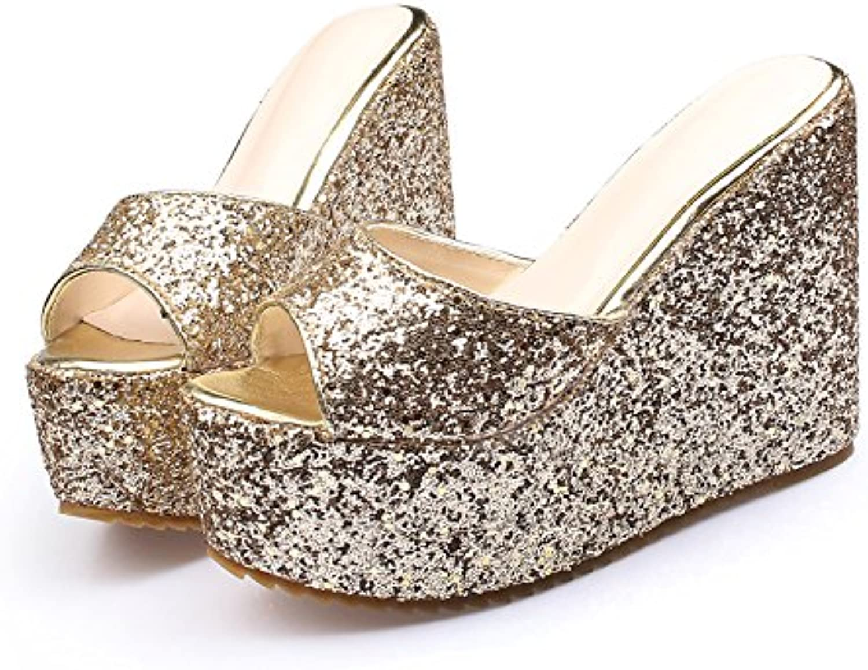 GTVERNH-Grueso Lentejuelas Zapatos De Mujer 13Cm De Tacón Alto Impermeable Banquetes Recepción Zapatos Sexy Colombo...