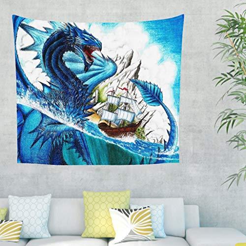 Aquarell - Tapiz de pared con diseño de dragón azul y dragón, ideal para la pared o la playa 230x150cm blanco