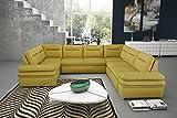 mb-moebel Ecksofa mit Schlaffunktion Eckcouch mit Bettkasten Sofa Couch Wohnladschaft U-Form Polsterecke Gelb Elly III (Ecksofa Rechts)