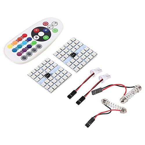 VGEBY Vehículo Decoración Luces Festoon Color-cambiando la lámpara de la bóveda 36 LED RGB + Regulador alejado (paquete de 2 luces)