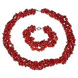 TreasureBay FAB Parure de bijoux pour femme avec collier et bracelet corail rouge naturel