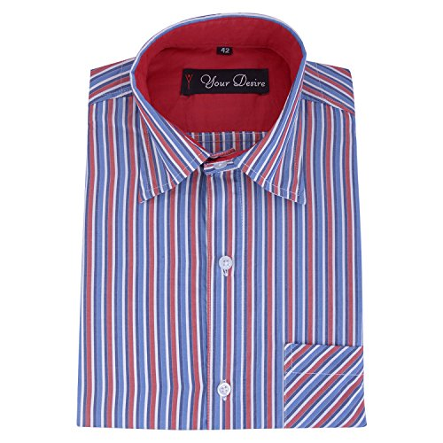 Your Desire Shirts Men Cotton Blue and Red Formal Shirt (Size 40)