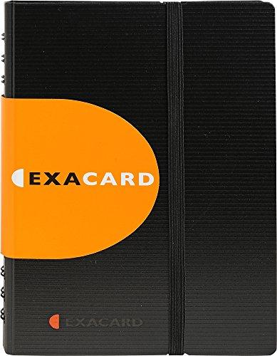 Exacompta 75034E Visitenkartenbuch Exacard in Schwarz mit herausnehmbaren Folien / Kartenetui mit Register / Kartenmappe für 120 Visitenkarten (20 x 14,5 cm)