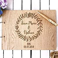 Wedding guest book | personalised wreath rustic guestbook for weddings | wooden | alternative wood books