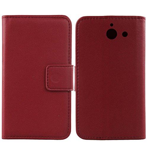Gukas Design Echt Leder Tasche Für Huawei Ascend Y550 Hülle Handy Flip Brieftasche mit Kartenfächer Schutz Protektiv Genuine Premium Case Cover Etui Skin Shell (Dark Rot)