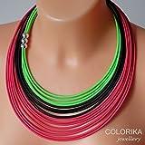 Textil Halskette, farben: neongrün, grün, rosa, silber