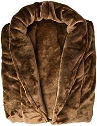Auralum ® Auralum® Deluxe de Forro Polar Supersuave Albornoz Microfibra Unisex Hombre / Mujer de Ducha de Hidromasaje , Tamaño: S, marrón