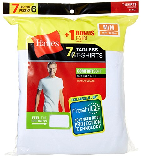 Hanes Men`s White TAGLESS ComfortSoft Crewneck Undershirt, 2135C7, M, White
