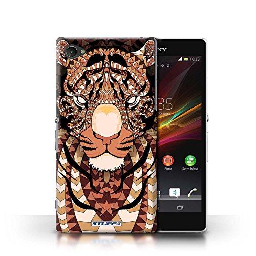 Kobalt® Imprimé Etui / Coque pour Sony Xperia Z1 Compact / Loup-Mono conception / Série Motif Animaux Aztec Tigre-Orange