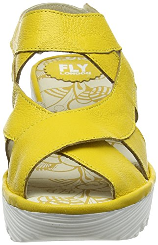 Fly London Yona737fly, Scarpe Col Tacco con Cinturino a T Donna Giallo (Lemon 013)