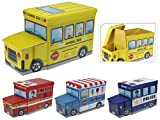 KOOPMAN Kids Toy Storage Play Torace da Pouf Sgabello Veicolo Box Tidy School Bus