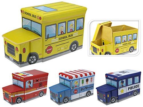 Koopman Kinder Spielzeug-Box, Truhe, Aufbewahrungsbox, Hocker, zusammenklappbar, School Bus - Feuerwehr-schlafzimmer-möbel