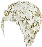 Silikon Schwimmen Cap–Frauen trendiges Badekappe ideal für Damen, perfekt Haar Trocken Zu Halten–geeignet für langes Haar–flowal Blütenblatt Vintage Stil–Weiß von beemoo