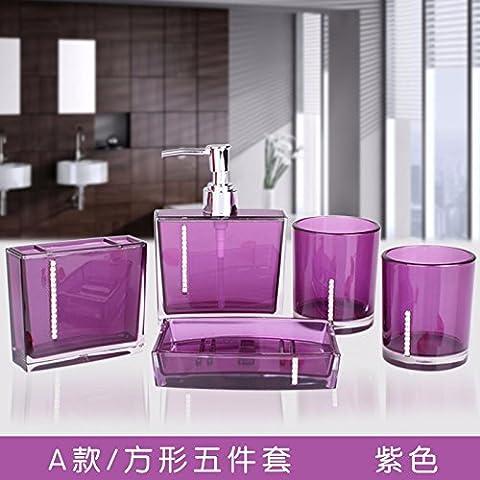 Acrilico Bagno Five-Piece tazze di spazzolatura lavare tazza Suite Bagno Articoli da toeletta regali di nozze viola (una sezione)
