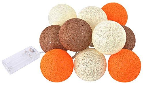 l Lights Grau Schwarz Weiß 10 er Lichterkette Baumwolle Kugel #3653, Farbe:Braun- Orange ()