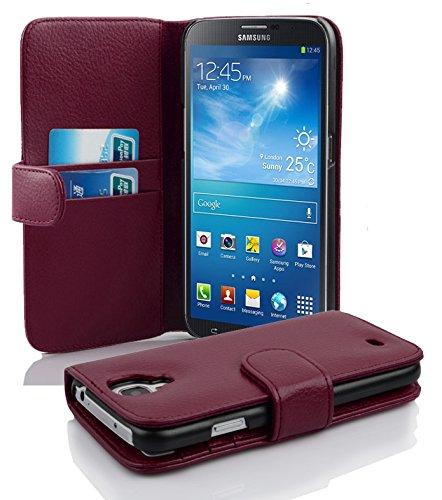 Cadorabo Hülle für Samsung Galaxy MEGA 6.3 - Hülle in BORDEAUX LILA – Handyhülle mit Kartenfach aus struktriertem Kunstleder - Case Cover Schutzhülle Etui Tasche Book Klapp Style
