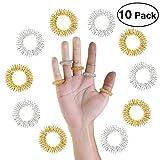Massage Ring,Pixnor 10 Stücke Akupressur Ringe Chinesische Medizin Finger Massage Ring(5 Silber + 5 Golden)