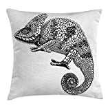 baobaozh Tattoo Decor Throw Pillow Cushion Cover by, Warrior Fierce Eagle with Feather Bennet Native American Tribal Symbol, Decorative Square Accent Pillow Case, 18 X 18 Inches, Black and White