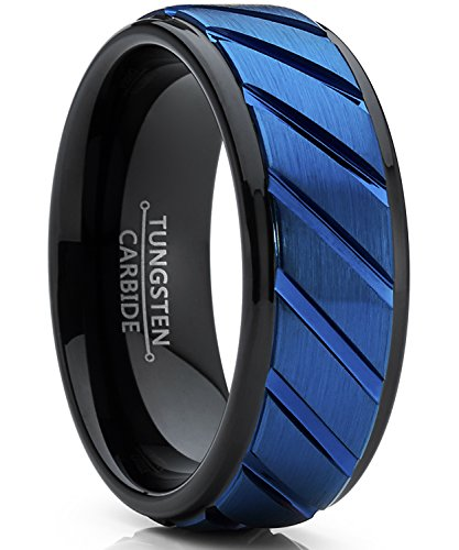 Ultimate Metals Co. Herren schwarz und blau wolframcarbid verlobungsring. Herren schwarz und blau wolframcarbid ehering mit rille.8mm Bequemlichkeit Passen Größe 66