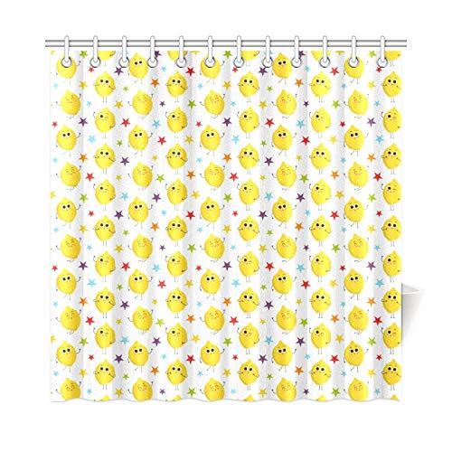 WOCNEMP Home Decor Bad Vorhang Gelbe Frucht Zitrone Sterne Auf Weißem Polyester Stoff Wasserdicht Duschvorhang Für Badezimmer, 72 X 72 Zoll Duschvorhänge Haken Enthalten (Duschvorhang Gelb Zitrone)