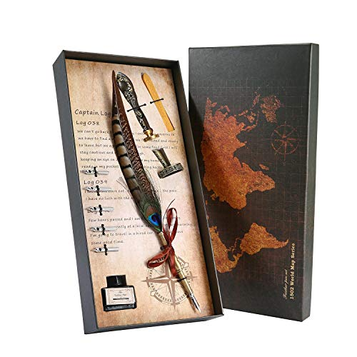 Aolvo Kalligraphie-Stift-Set Harry Potter Quil Pen Dip Feather Füllfederhalter Luxus Antik Pen Set mit 5 extra Federn Ständer, Stempel, Wachs, Tinte Flasche #03