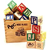 Baybee 27 PCs A-B-C / 1-2-3 Wooden Blocks Letters Numbers with Wooden Storage Case