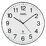 Klassische Wanduhr Funk AMS 5960 Funkuhr Weiß Große Zahlen Küche Büro Zeiger