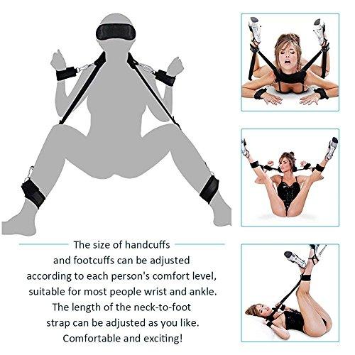 Yishenghuo-EUR SM Bondage Set Fesselset SM Sexspielzeug Extrem Betten Fesseln mit Handschellen mit Augenmaske für Paare Gays, für Einsteiger und Erfahr