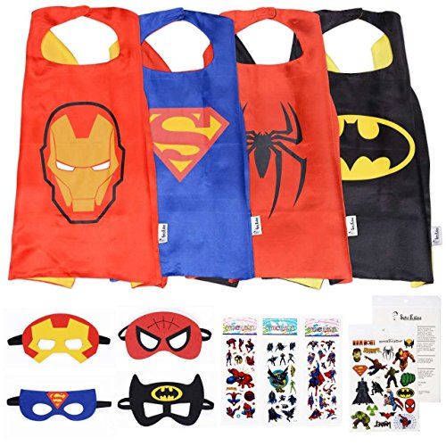 Super Kiddos Superhero Cape and Mask Costumes for Kids Set-Capes, Masks Stickers and Tattoos by Super Kiddos (Captain America Mädchen Kostüme)