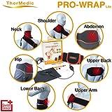 Thermedic Pw140L - Almohadilla térmica eléctrica con infrarrojo para nuca, cervical, espalda y hombros, color negro y rojo