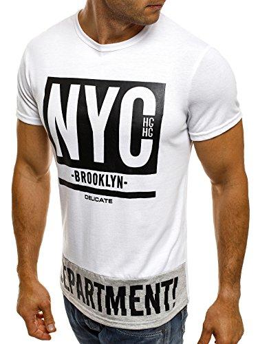 OZONEE Herren T-Shirt mit Motiv Kurzarm Rundhals Figurbetont J.STYLE SS163 Weiß