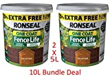 Ronseal 5L One Coat Fence Life Fence Paint Bundle Deal 2 for 22.95-2