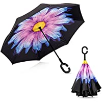 Sorliva - Paraguas reversible de doble capa para coche, con protección UV, reversible, plegable, para sol y lluvia, Púrpura (Purple Daisy)