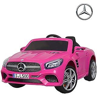 UEnjoy Mercedes-Benz Kinderauto Kinderfahrzeug Elektro Spielzeug 12V Lizenziert SL500 AMG Roadster Kinder Fahrt-on Auto Electric w/Fernbedienung 3 Geschwindigkeiten LED-Leuchten,Rosa