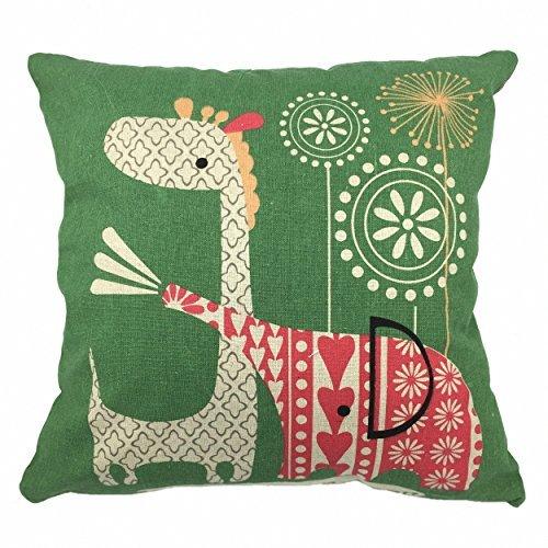 luxbon-cotton Lino federa per cuscino animale cuscino decorativo federa elefante e cervo stampato casa design Custodia decorativo per divano, letto, Auto, giardino, 45cm